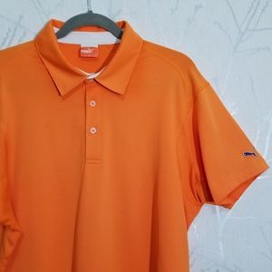 Puma Orange Short Sleeve Vented Golf Polo Shirt